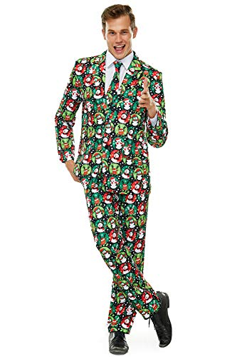 Ugly Men's Christmas Party Suit Bachelor Funny Costume Novelty Xmas Regular Fit Suits with Trousers and Tie -X Large