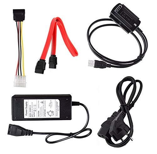 """Eatech USB 2.0 a SATA Pata IDE ATA 2.5""""3.5"""" HD HDD Unidad de Disco Duro Convertidor de Adaptador de Cable de Datos con Cable de alimentación de CA Externo Kit (Negro)"""