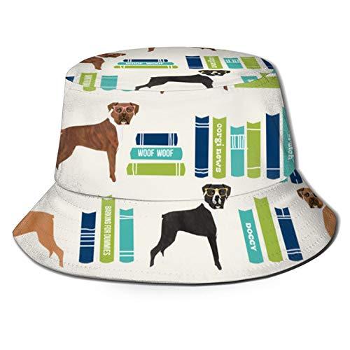 GMGMJ Libros lindo perro crema Unisex cubo sombrero pescador sombrero sombrero sol plegable 3D impresión al aire libre playa sombrero
