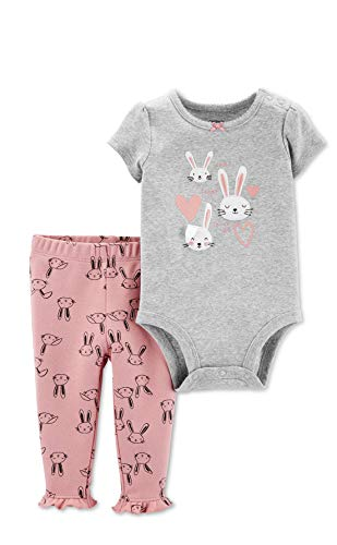 Carter\'s 2-Piece Bunny Bodysuit Pant Set (18 Months) Gray and Pink