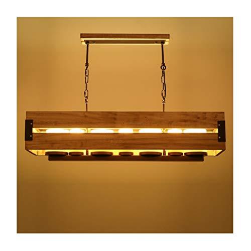 LJF Lampe . Lámpara colgante industrial de hierro forjado, decoración de madera maciza, E14, para bar, restaurante, cafetería, tienda de ropa, lámpara de araña Loft