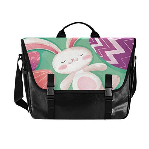 Pasqua Uovo di coniglio uomini e donne tela Satchel, borsa a tracolla singola retrò, adatta per iPad, Kindle, Samsung