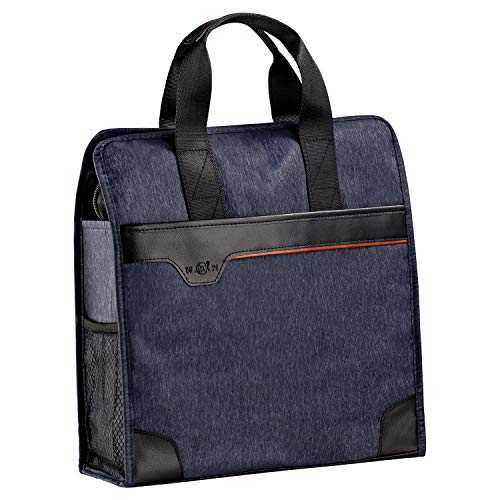 Vertical Briefcases for Men, MaoXing Waterproof Tote Handbags Nylon Travel Purse with Large Capacity for iPad Tablet Kindle & Men's Gift (Dark Blue)