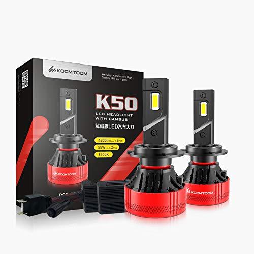 KOOMTOOM H7 Bombillas LED para faros delanteros con Canbus, Ture110 W 9600 lúmenes, kit de conversión de faros LED superbrillantes, 6500 K, blanco frío IP65, resistente al agua, paquete de 2