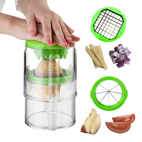 French Fry Cutter, Potato Apple Slicer with 2 Size Blades and Use for Onion, Orange, Cucumber, Carrots, Veggie Sticks, Tomato Slicer with Brush and Potato Peeler, Vegetable Chopper Easy to Clean & use