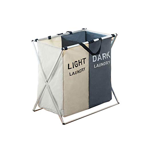 Heding Collapsible Oxford Fabric Laundry Basket with Handle and Aluminum Bracket, Removable Large Laundry Bag with 2 Or 3 Sections (Color : B)