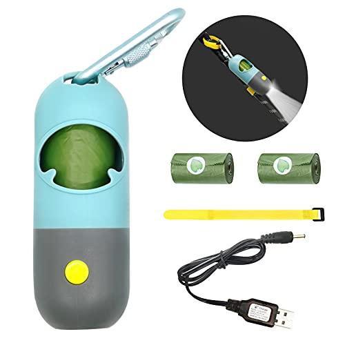 Freihändiger Hundekotbeutelspender mit LED-Taschenlampe Kacktütenhalter mit 3 Rollen grüner Müllbeutel Karabinerverschlüsse Wiederaufladbare Batterie und Kabel