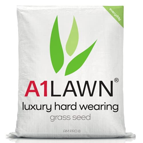 A1 Lawn AM Pro 8 Luxury Hard Wearing Grass Seed, 10kg (280m2) - High Quality, UK Resilient, Fresh, Pet & Child Friendly - Ideal for Patch Repair, Over Seeding, New Lawns & Thickening. DEFRA Approved