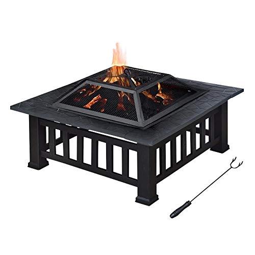 Froadp 3 in 1 Feuerstelle Grill Multifunktional Feuerkorb Feuerschale Quadratisch aus Metall Feuerkorb mit Wasserfeste Schutzhülle für Heizung BBQ Outdoor Garten Terrasse