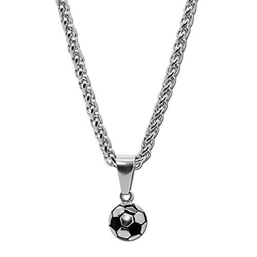 tumundo Edelstahl Gliederkette Panzerkette Hals-Kette Fußball Ball Football WM Ketten-Anhänger Golden Silbern Fanartikel, Farbe:Silber