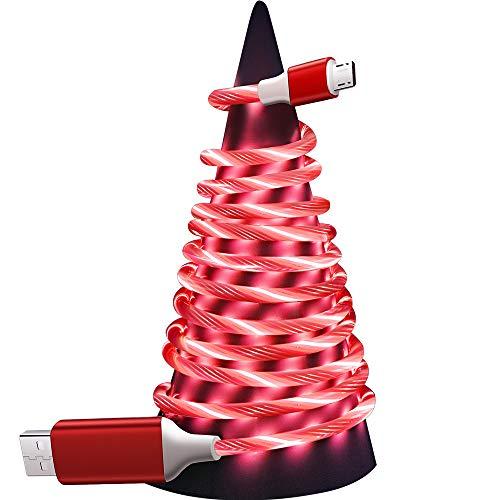 Agedate Streamer - Cable micro USB, 1 m, PVC, LED, cable de carga micro USB y cable de datos de carga rápida para Samsung S7/S6/J7/Note 5, Xiaomi, Huawei, Wiko, Motorola, Nokia, Kindle, color rojo