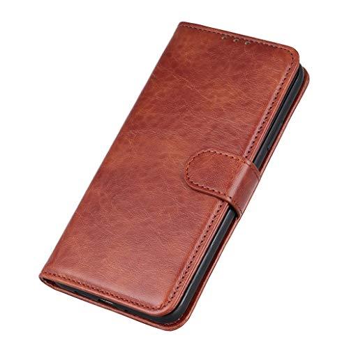 GOGME Hülle für LG K52, Premium Leder Flip Schutzhülle Magnetic Snap mit [Kartenfächer/Ständer Funktion] Brieftasche Handyhülle Stoßfest Hülle, Braun