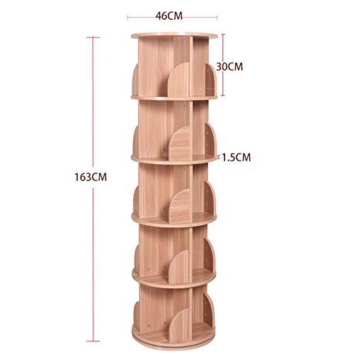 Bibliothèque DD-Étagère, 5 Couches Rotation Créative, 360 degrés Simple Moderne Rack Simple pour Enfants Atterri/46x163cm Finition et Stockage