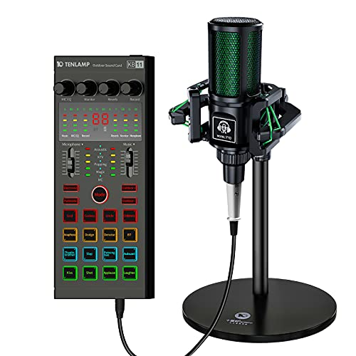 Podcast Equipment Bundle Production Studio with 3.5mm Condenser Microphone,Audio Interface Voice Changer, DJ Live Sound Card Mixer for Guitar YouTube/Streaming/PC/Recording/Gaming/Broadcasting