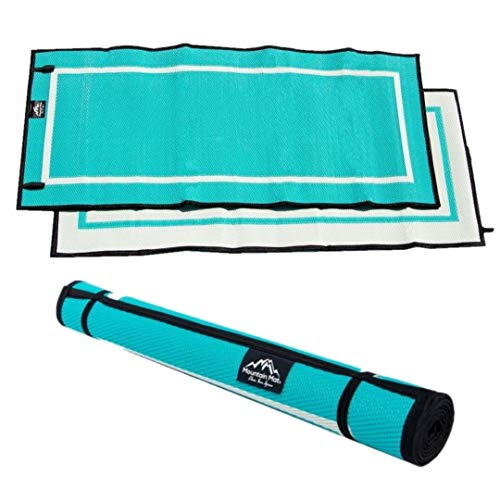 Mountain Mat Teal/White (3' x 6') Earth-Friendly Outdoor RV Patio mat for Backyard, Beach, Camping, picnics & Yoga - Premium, Heavy Duty, Waterproof, Reversible- Woven from Recycled Polypropylene