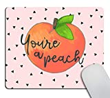 Smooffly Gaming Mousepad Custom,You're a Peach Quote with Mouse pad Cute Hand Drawn Peach Mouse Pads for Computers Laptop