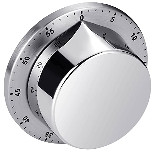 Kitchen Timer, Chef Cooking Timer Clock with Loud Alarm, No Batteries Required, 100% Mechanical - Magnetic Backing, Exquisite Stainless Steel Body