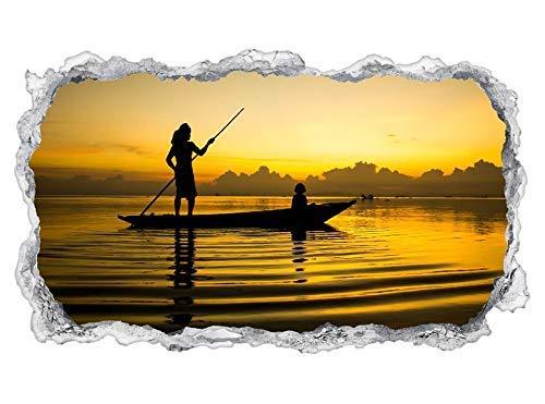 3D muur tattoo binnenzijde zee-engel vissen boot water landschap muur papier muur sticker muur doorbraak sticker zelfklevende muursticker woonkamer 11P1088 ca. 140cmx82cm