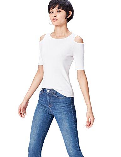 find. T-Shirt Damen gerippt, mit Off-Shoulder-Design, Weiß (Ivory), 38 (Herstellergröße: Medium)