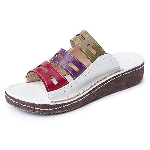 gracosy Sandalias Planas Cuña Mujer Verano 2020 Zapatos Piel Chanclas Zapatillas Casual Cómodas Open Toe Caminar Fiesta de Playa al Aire Libre Transpirable Antideslizante Mula BLU Blanco 36-43
