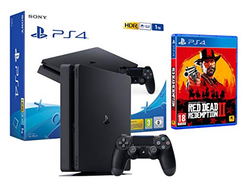 PS4 Slim 1To Console Playstation 4 Noir + Red Dead Redemption 2
