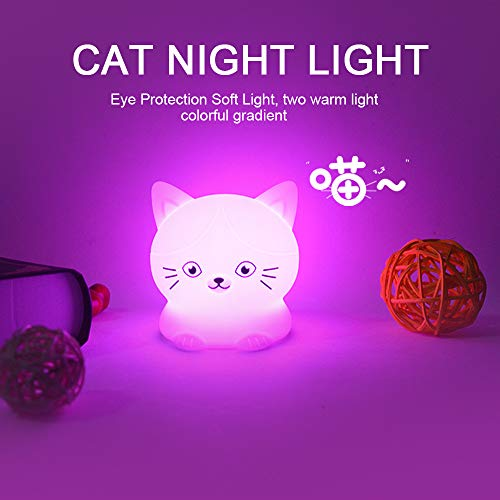 NIGHT LIGHT CAT.Luz nocturna infantil portátil y recargable usb,de 9 colores,luz quitamiedos bebe LED multicolor con mando. lampara mesa infantil,Silicona...