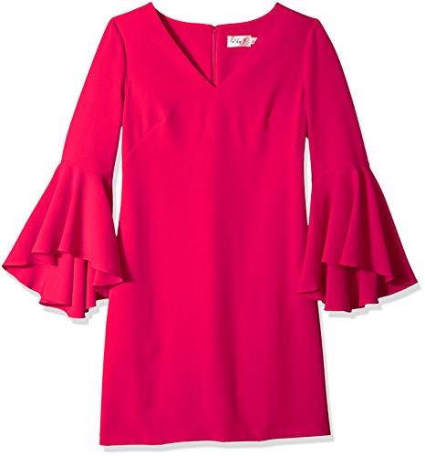 Eliza J Women's V-Neck Bell Sleeves Shift Dress, Pink, 26 Plus