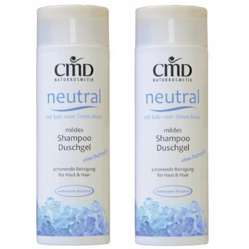 CMD Neutral Shampoo / Duschgel mit Salz vom Toten Meer 2er-Pack (2x200 ml) (bio, vegan, Naturkosmetik)