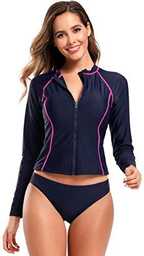 SHEKINI Damen Sportlicher Langarm Zweiteiliger Bikini High Neck Vorne Reißverschluss Figurformend Surfanzug mit Polsterung UV-Schutz (UPF) 50+ (Small, Dunkelblau)