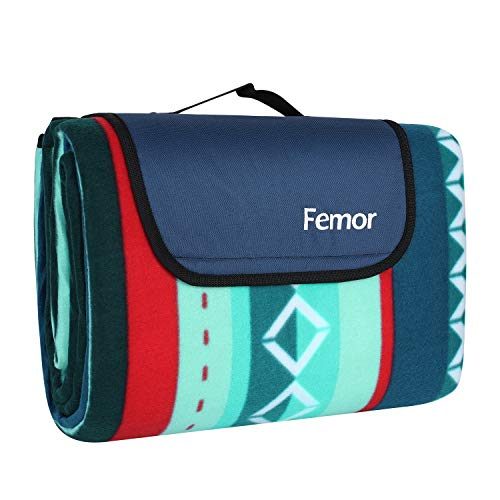 femor Large Picnic Blanket with waterproof backing 200 x 300 cm, Outdoor Beach Blanket Waterproof Sandproof Fancy Picnic Mat, Fleece Thermo Insulated Waterproof with Carrying Handle (Green Striped)