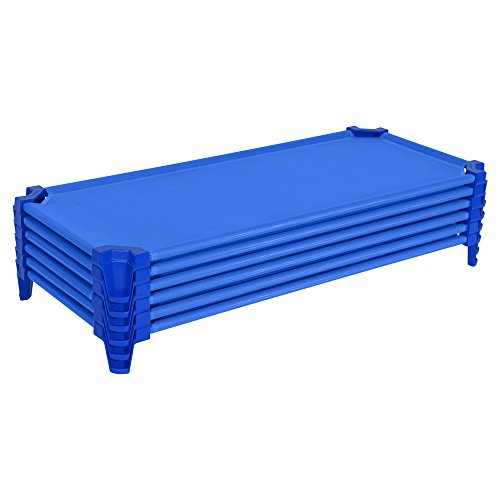 Wood Designs 87800 Stackable Daycare Cots for Kids, Naptime/Sleeping Cots for Preschool, Daycare, Kindergarten [Set of 6], 52'L x 22.25'W, Blue, Ready-to-Assemble