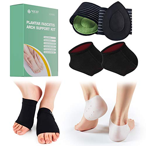 Plantar Fasciitis Arch Support Kit -4 pairs- Gel Heel Sleeves, Heel Therapy Wraps, Cushioned Arch Supports & Gel Arch Braces - Fast Pain Relief for Plantar Fasciitis, Low/High Arch, Heel Spurs (Large)
