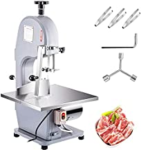 VBENLEM 110V Bone Saw Machine, 850W Frozen Meat Cutter, 1.12HP Butcher Bandsaw, Thickness Range 4-180mm, Max Cutting Height 200mm,Workbeach 14.5x15inch, Work Speed 15m/s, Equipped with 3 Sawing Blades