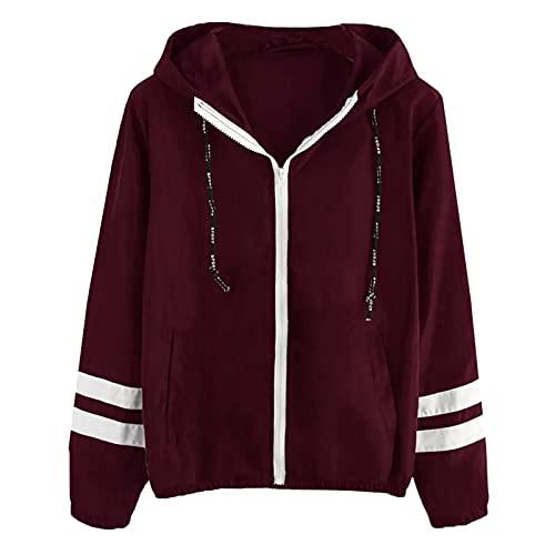 Chaquetas con capucha para mujer Cárdigan a rayas de manga larga invierno cálido abrigo chaqueta parka Outwear chaleco abrigo bolsillo abrigo, Vino, XL