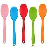 Xinzistar 5 Pezzi Cucchiaio Silicone di Miscelazione Cucchiai Spatola per Utensili Antiaderenti Un Pezzo Design Cucchiaio da Servizio in Silicone per Cucina