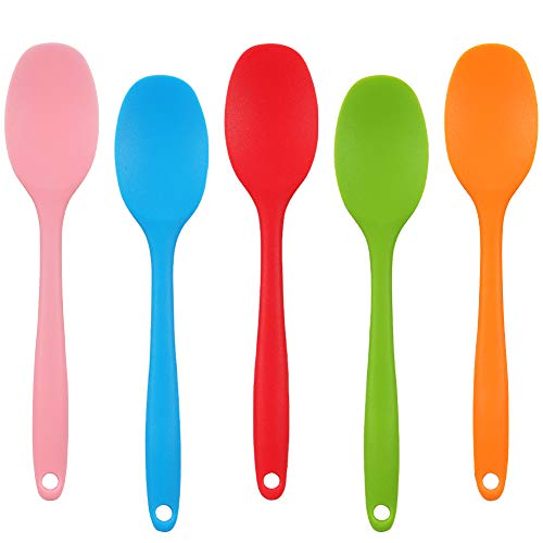 QINREN Silicone Soup Spoons, 5pcs Non-Stick Silicone Mixing Spoon Stirring Spoon Candy Color Silicone Serving Spoons with Long Handle Cooking Spoons Kitchen Spoon for Kitchen Cooking Baking Stirring