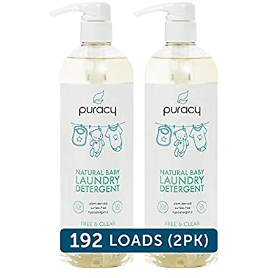 Puracy Natural Baby Liquid Laundry Detergent for Sensitive Skin, Free & Clear, 24 Fl. Oz (192 Loads)