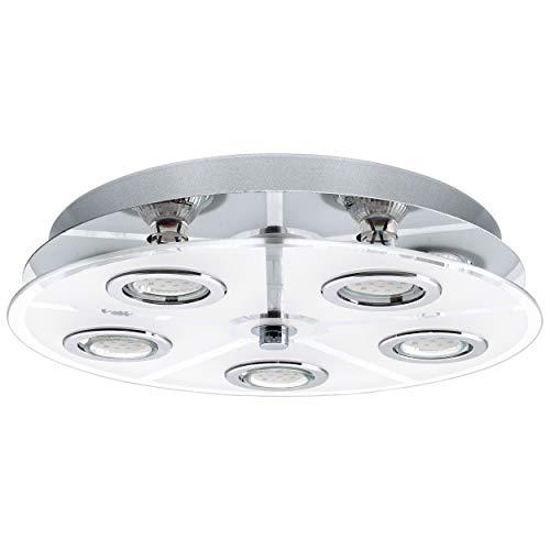 EGLO 30933 Plafonnier, Verre, GU10, Chrome, Transparent, Blanc