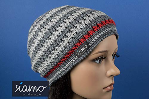 Beanie DORSET Unisex dunkel-/hellgrau und rot gestreift Häkel-Mütze von siamo-handmade