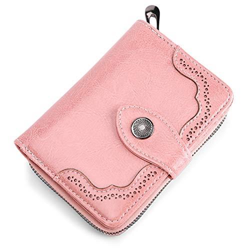 U/N Monederos para Mujer, Billetera pequeña y compacta de Cuero Genuino para Mujer con protección RFID, Familiares y Amigos