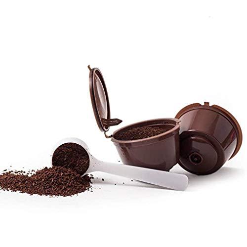 Riutilizzabile per Capsule Caffè Dolce Gusto Capsule Filtro Caffè Capsule Filtro Marrone con cucchiaio 2 pezzi