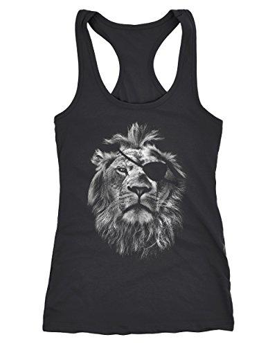 Neverless Cooles Damen Tank-Top mit großem Löwen Aufdruck schwarz L