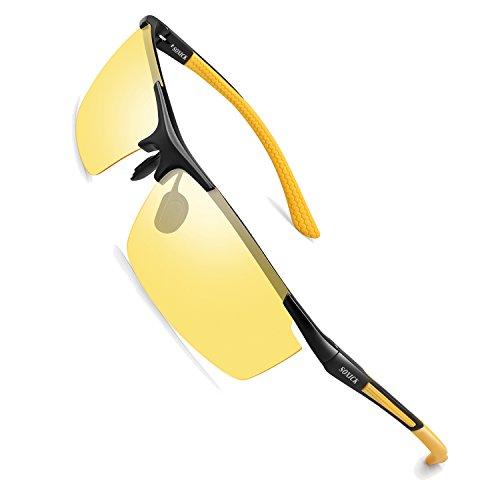 SOXICK Night Driving Glasses Anti Glare Polarized, HD Vision Al-Mg Frame Safe Fashion Sunglasses