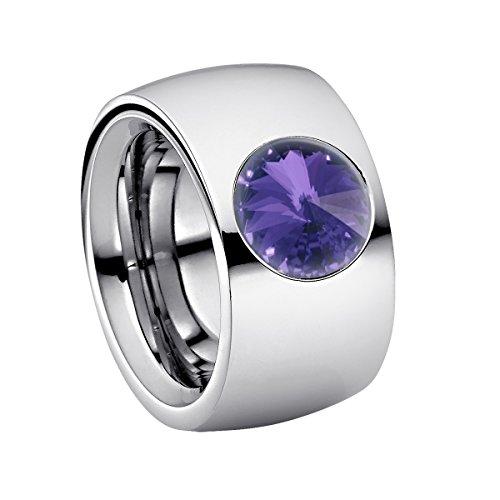 Heideman Ring Damen Coma 14 aus Edelstahl Silber farbend poliert Damenring für Frauen mit Stein Kristall Tanzanite lila im Fantasie Edelsteinschliff 10mm