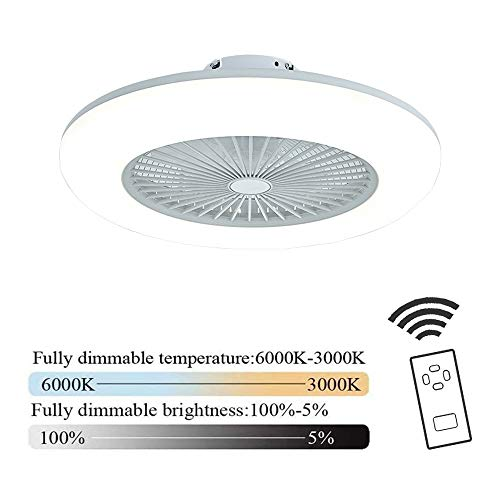 Plafondventilator met verlichting led-licht instelbare windsnelheid dimbaar met afstandsbediening 36w moderne led-plafondlamp voor slaapkamer woonkamer eetkamer, wit