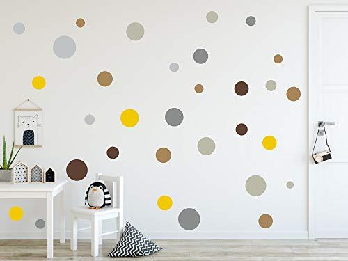 timalo® 73078, 120 adesivi da parete, per cameretta dei bambini, puntini adesivi a forma di cerchio, colori pastello, Set 10., 120 pezzi