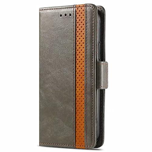 Ufgoszvp Realme 6 casos, a prueba de golpes, piel sintética, libro con cierre magnético, funda tipo cartera con soporte para tarjetas, funda para teléfono Realme 6 gris