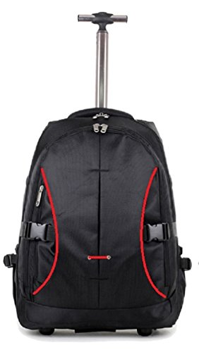 DK Luggage Wheeled Laptop Backpack 2 Wheel with Red Trimming Black