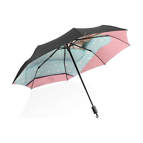 Kid Umbrella Boy Nette Tan White Basset Auf Sofa Tragbare Kompakte Taschenschirm Anti Uv Schutz Winddicht Outdoor Travel Women Travel Umbrella