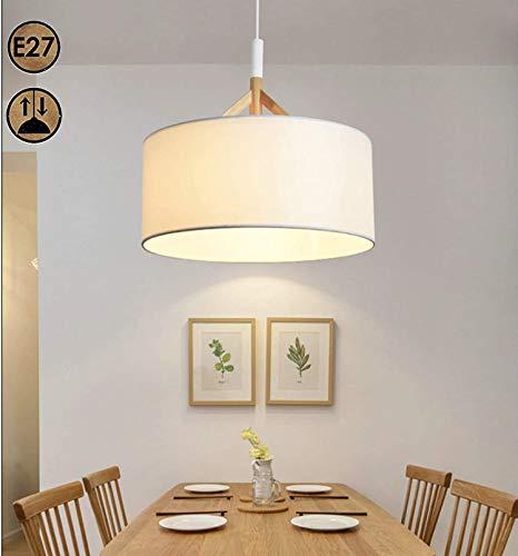 Modern Stoff Pendelleuchte Holz Esstischlampe, Essenzimmer Pendellampe, Höhenverstellbar Hängeleuchte Textil-schirm E27 Kronleuchter, Wohnzimmer Schlafzimmer Küche insel Lampe Cafe Bar Loft Hängelampe
